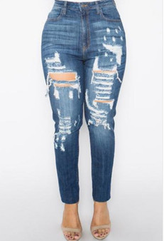 Fashion blue jeans available in plus sizes 1XL, 2XL and 3XL.