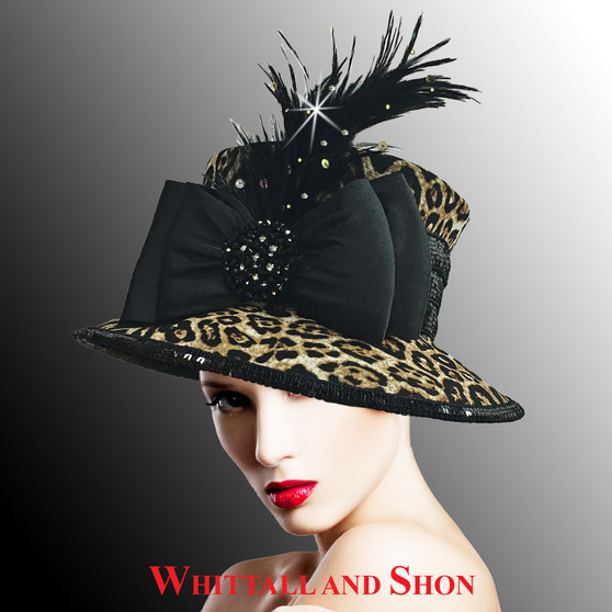 This leopard covered bucket hat is conservatively tailored on the wild side.