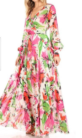 Floral print wrapped pink and green maxi dress.