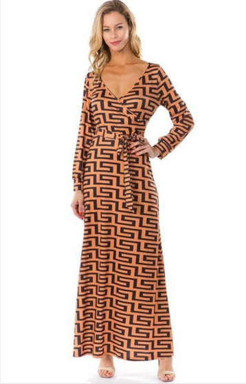 This Fendi inspired Aztec dress is made from a cotton and polyester and available in sizes small, medium, large, extra large and 2XL.