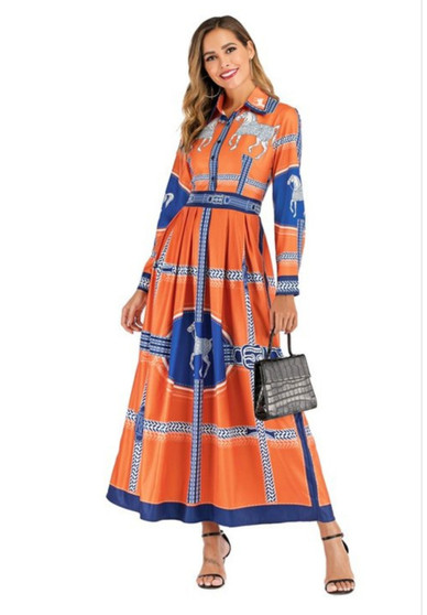 This multi-print animal dress is 100% polyester and available in sizes medium, large, extra large and 1XL.