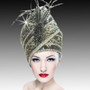 This intricately embellished pillbox hat is hand crafted with embroidery beadwork and had decorated plumes.