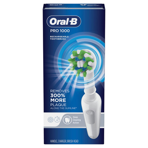 Pro 1000 Rechargeable Electric Toothbrush, White