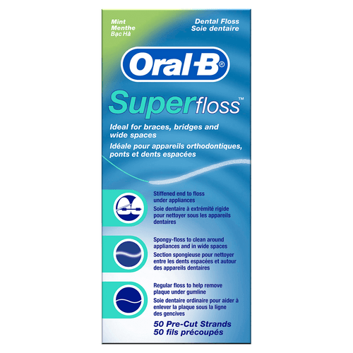 Oral-B Super Floss for Braces, Bridges and Wide Gaps