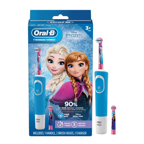 Oral-B Kids Electric Toothbrush Featuring Disneys Frozen with 2 Sensitive Brush heads, Powered by Braun, for Kids 3+