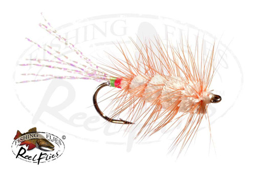 White Buck Bug Orange Hackles Flashy Tail