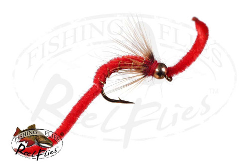 Psycho San Juan Worm Red with Soft Hackle Collar