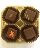 Top view of the 4-piece Truffle Taster by Ü Chocolate for the World