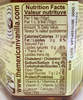 Detail of nutritional information label from Agave Nectar with Vanilla