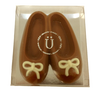 Boxed milk chocolate ballet slippers.