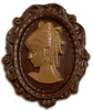 Dark chocolate cameo with milk chocolate accents.