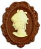 Milk chocolate cameo with white chocolate accents.