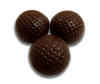 Set of three dark chocolate golf balls.