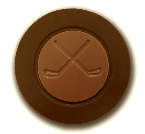 Dark chocolate hockey puck by Chocolate for the World.