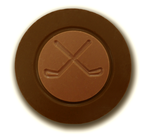 Dark chocolate hockey puck by Chocolate for the World.