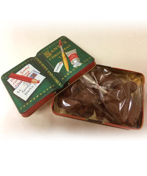 Introducing Santa's List Dark Chocolate Holiday Shapes Holiday Tin
