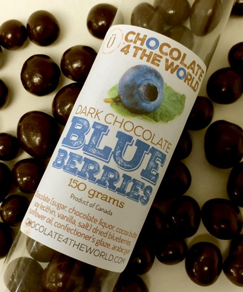 Introducing the Dark Chocolate Blueberries Peel Tube Treat by Ü Chocolate for the World