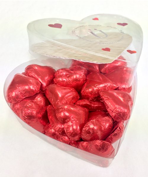 Open box of Valentine's Day Milk Chocolate Hearts by Ü Chocolate for the World