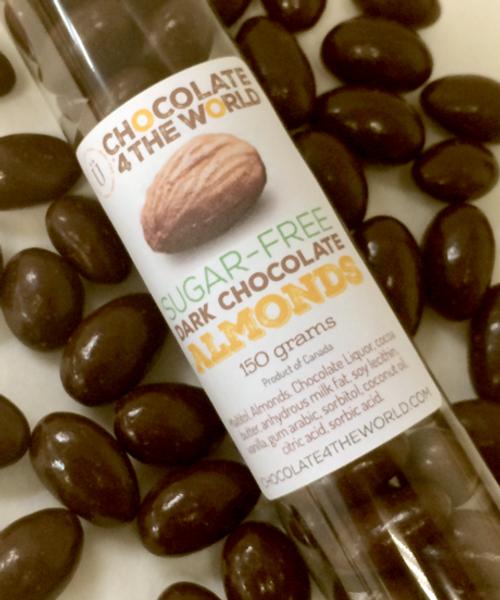 Introducing Premium Sugar Free Belgian Dark Chocolate Almonds Tube Treat by Ü Chocolate for the World