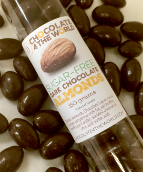 Introducing Premium Sugar Free Belgian Dark Chocolate Almonds Tube Treat by Ü Chocolate for the World