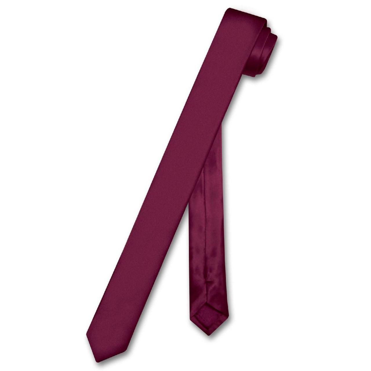 """Biagio 100/% SILK Narrow NeckTie EXTRA Skinny Solid Color Mens 1.5/"""" Thin Neck Tie"""