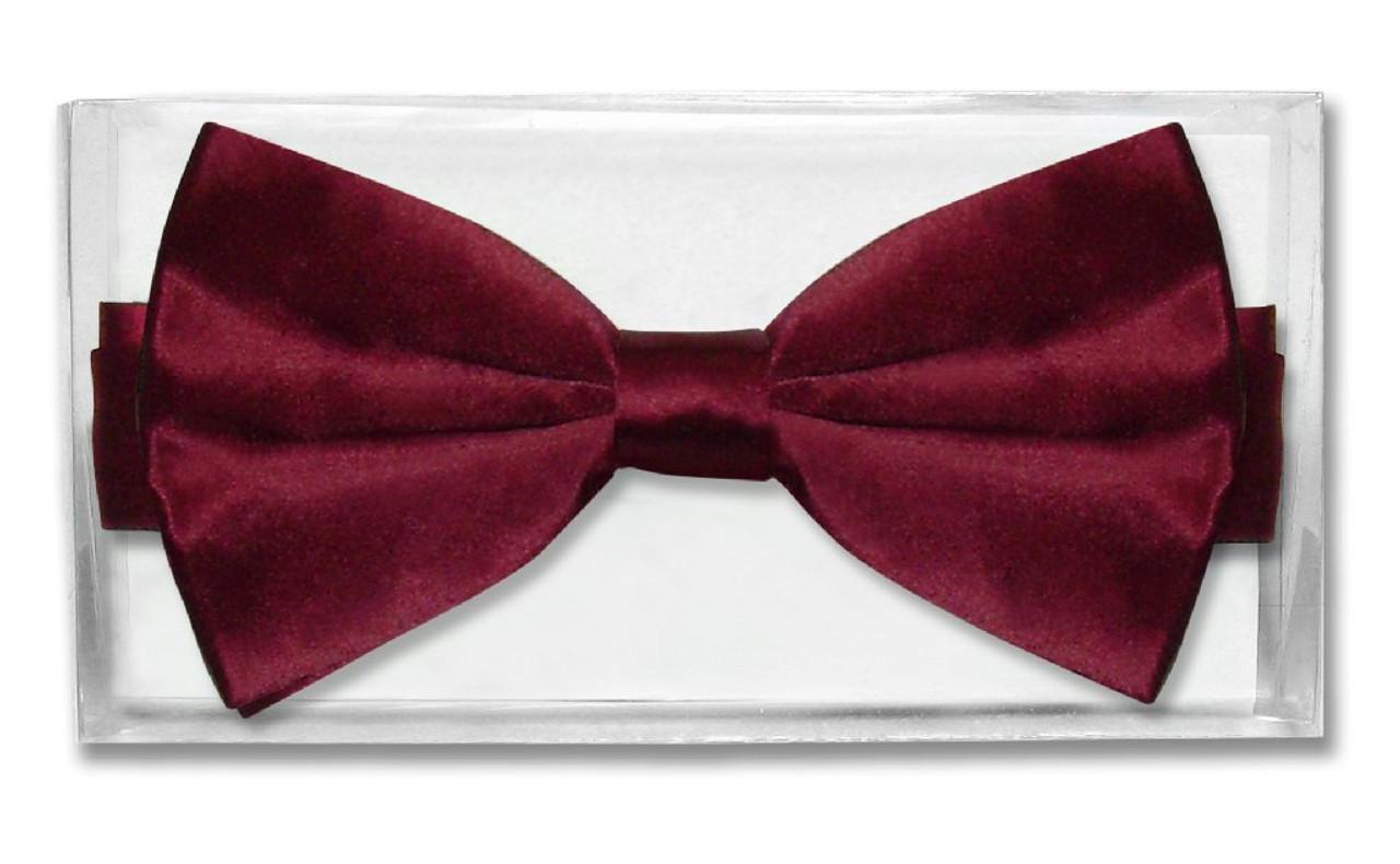 Burgundy Solid Color Pre-Tied Bow Tie