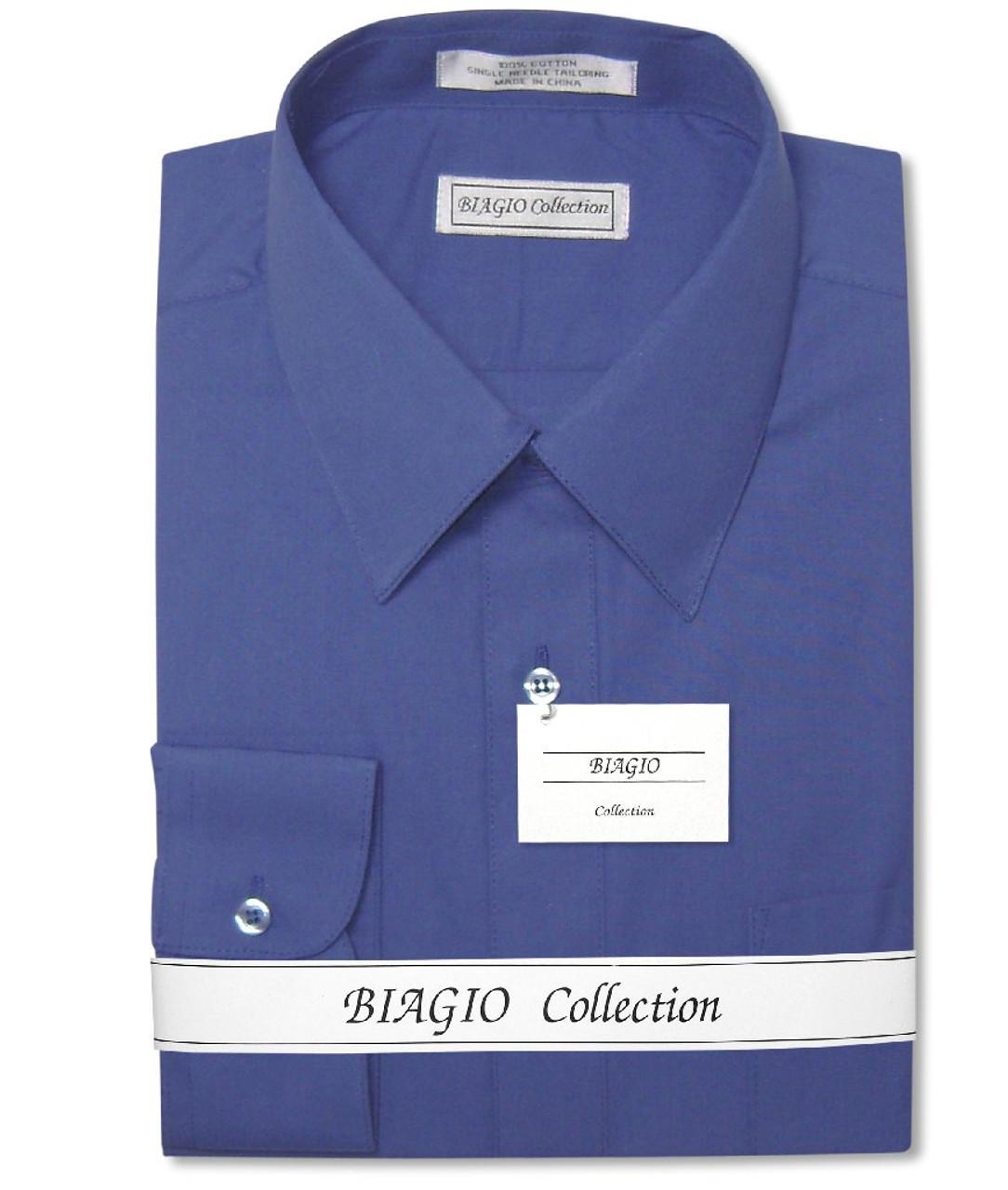 Biagio Mens 100/% COTTON Solid WHITE Color Dress Shirt sz 18 34//35
