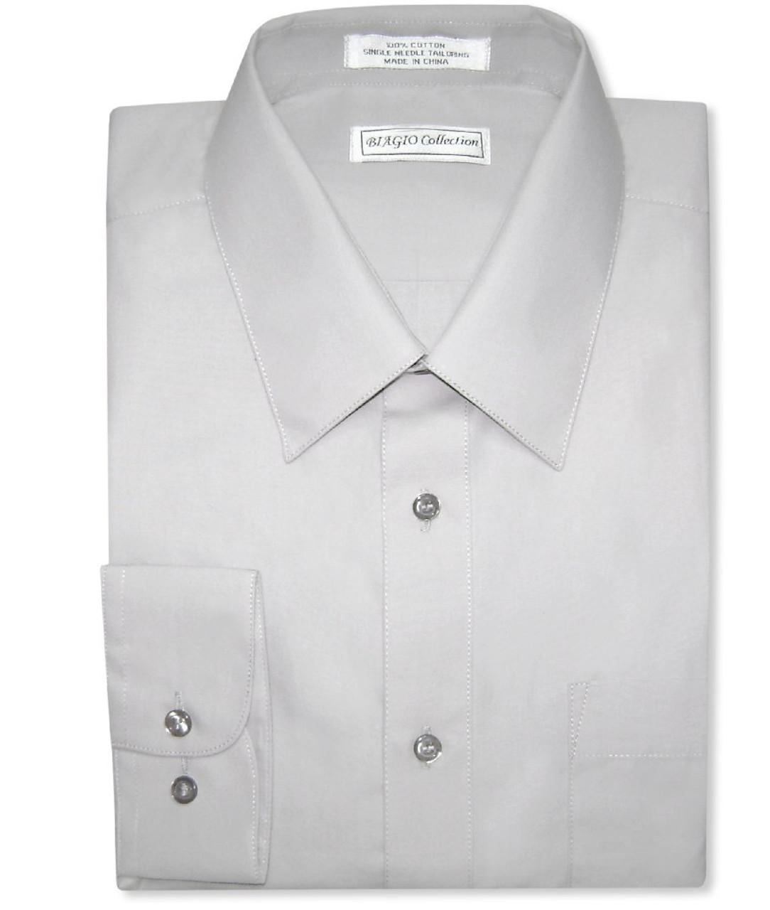 Biagio Mens 100/% COTTON Solid SILVER GREY Color Dress Shirt sz 17.5 34//35
