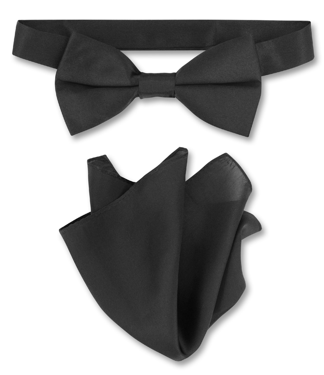 ba3a9be6f0bd Black Bow Tie And Handkerchief Set | Mens Silk BowTie Hanky Set