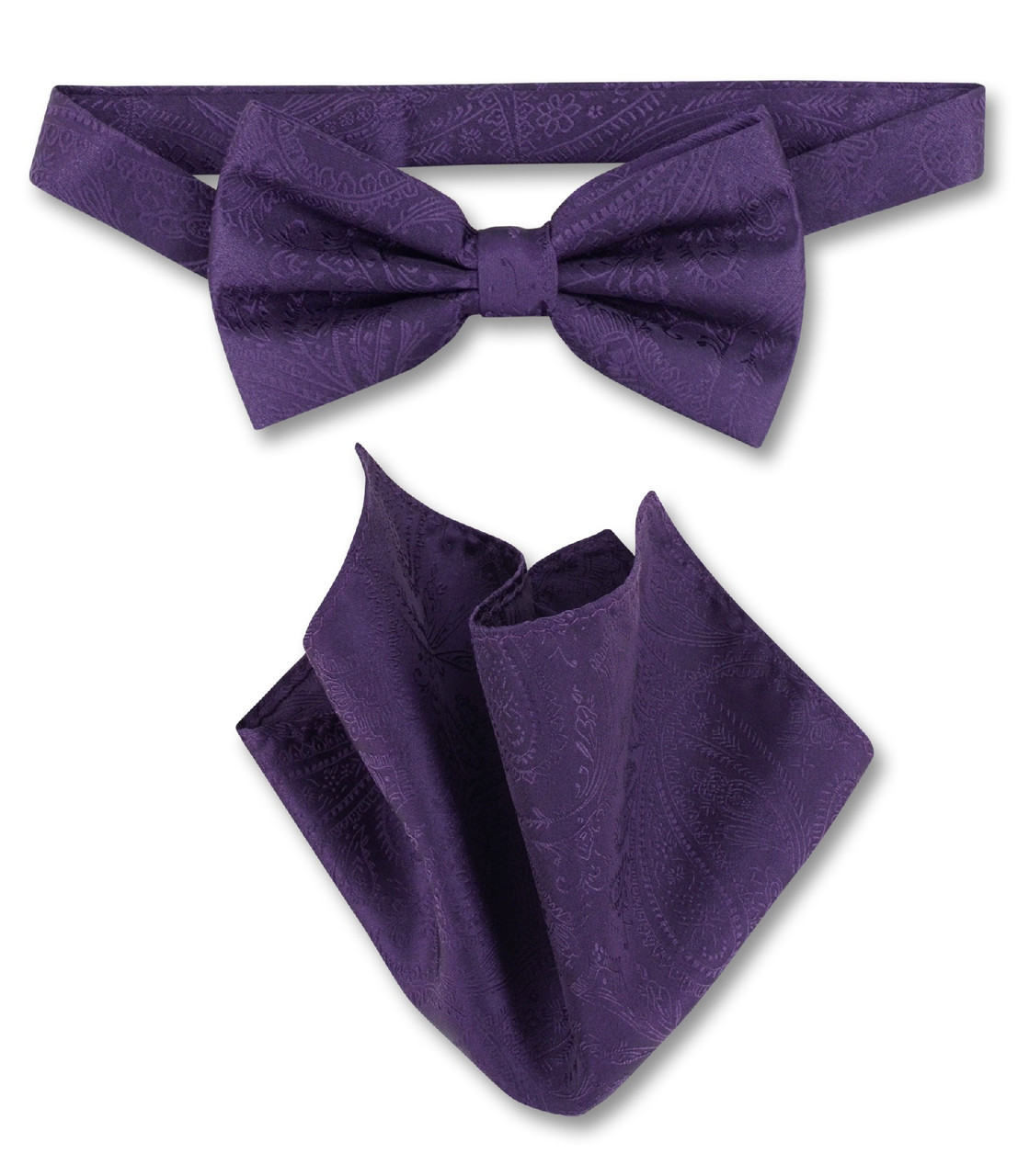 f7e2c969fa0a Dark Purple Paisley Bow Tie Handkerchief Set | Mens BowTie Set