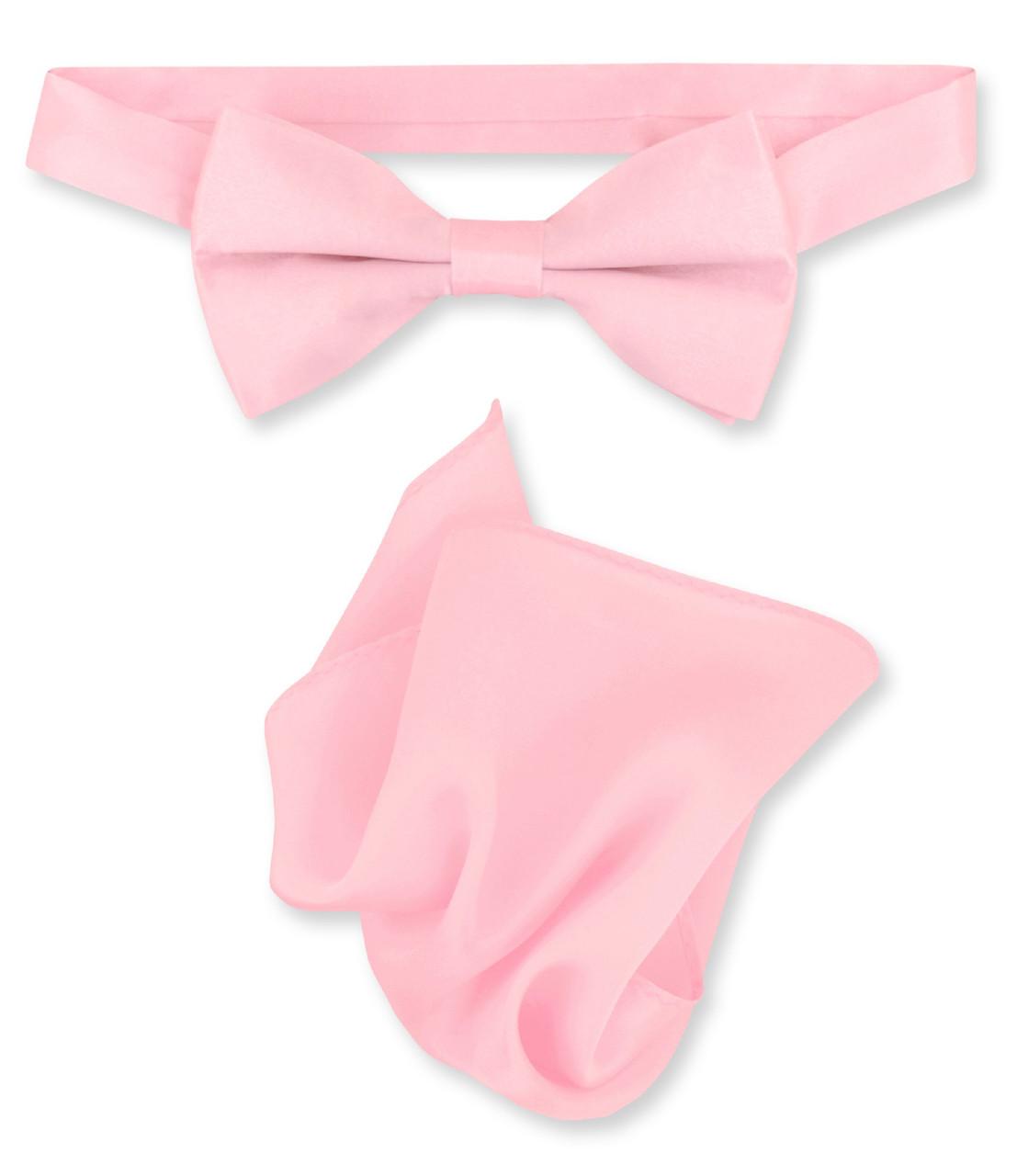 afe5df5fc262 Light Pink Bow Tie And Handkerchief Set | Silk BowTie Hanky Set
