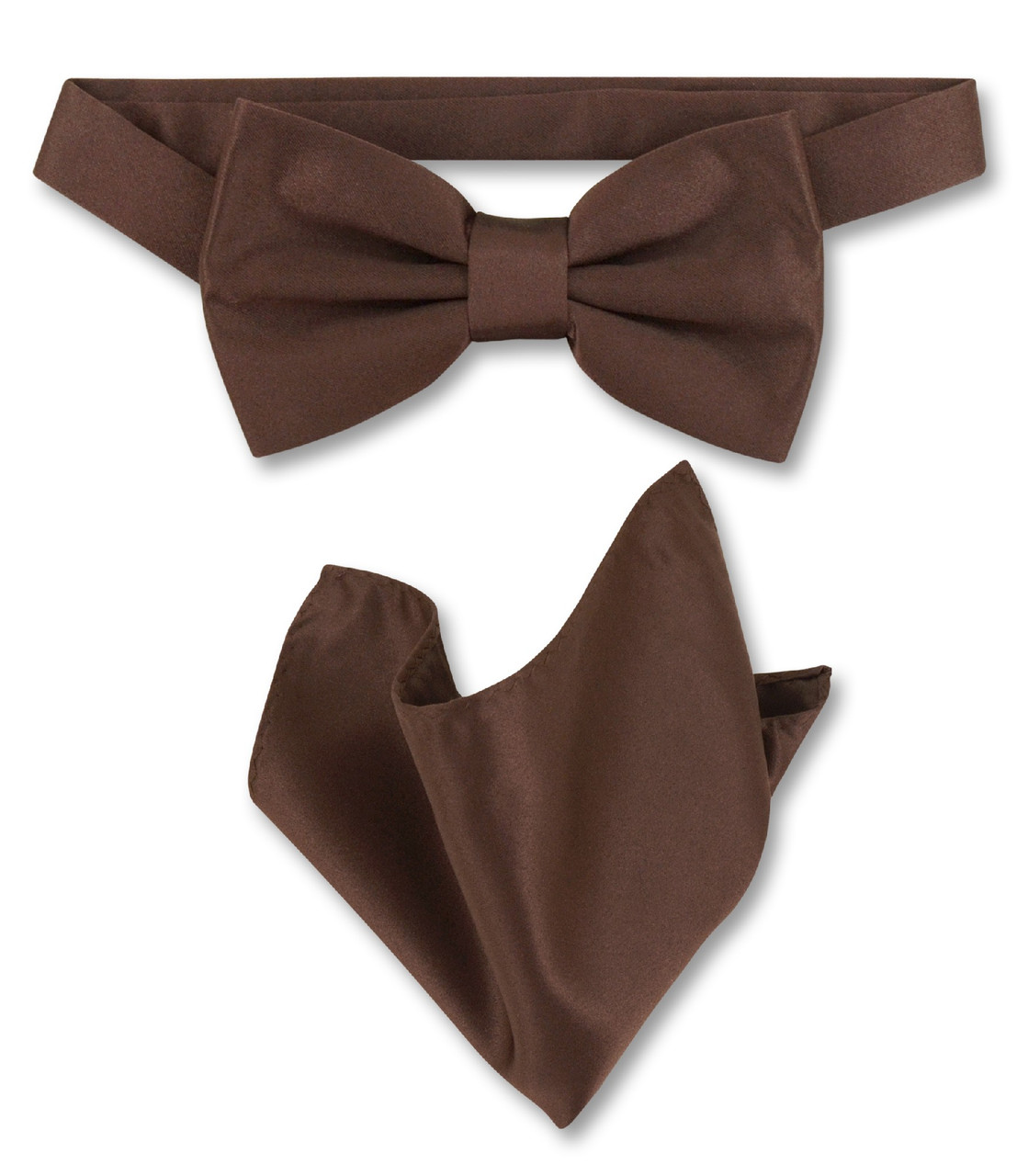 Men/'s microfiber Pre-tied Bow Tie /& hankie set Brown striped stripes formal