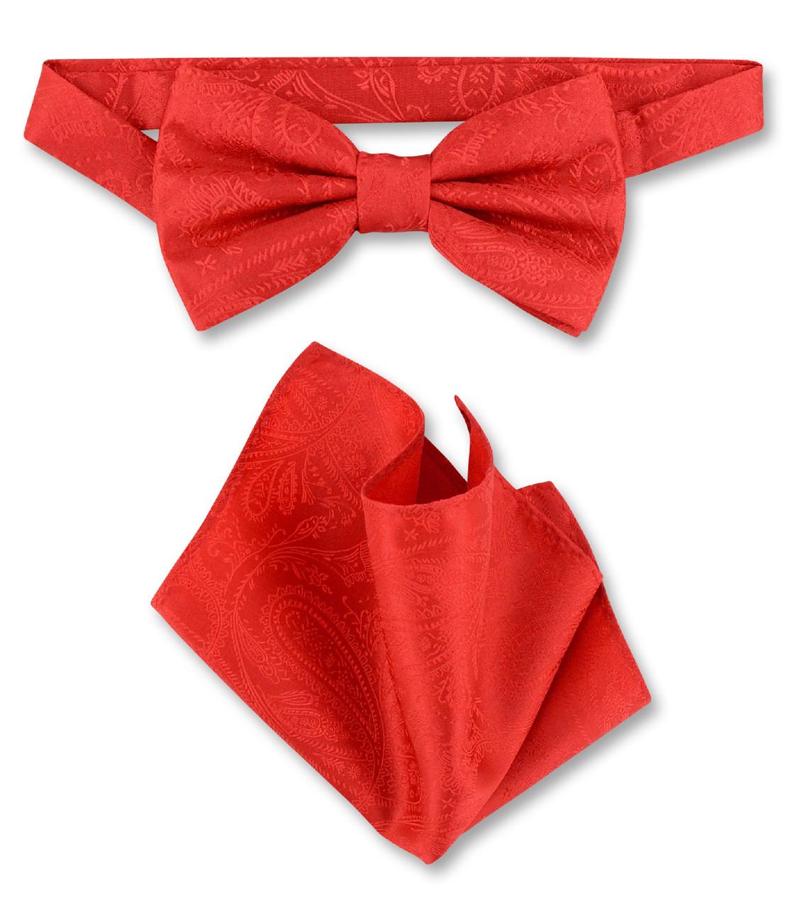 New Men/'s 100/% Polyester Solid Formal Self-tied Bow Tie /& hankie set burgundy