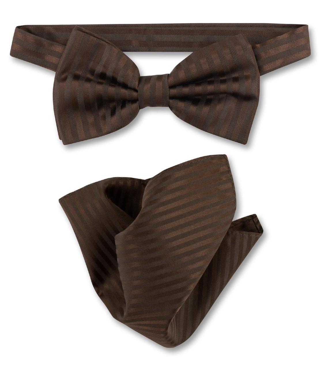 87bb2643a5e2 Chocolate Brown Vertical Stripe Bow Tie Handkerchief Set For Men