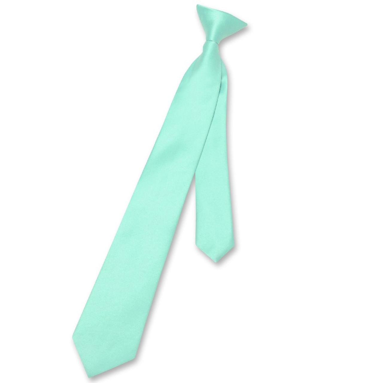 Vesuvio Napoli Boys CLIP-ON NeckTie Solid AQUA GREEN Color Youth Neck Tie