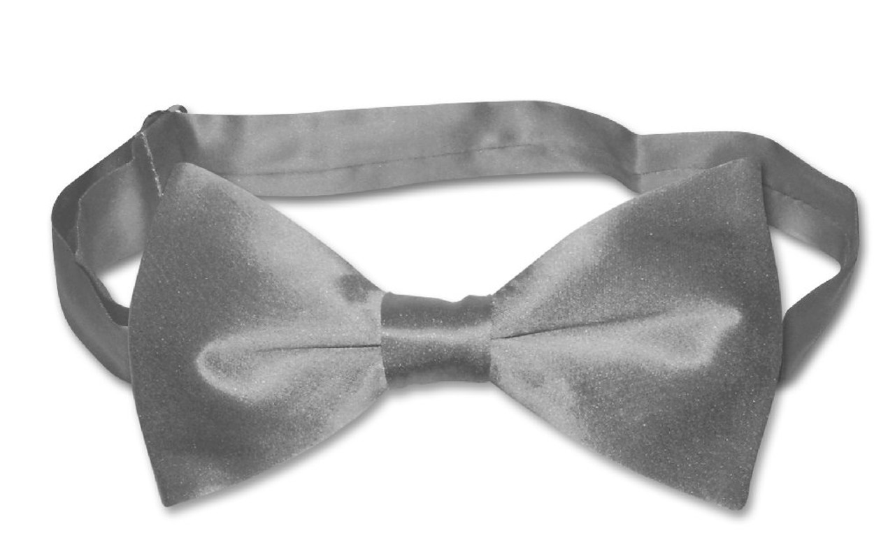 BIAGIO 100/% SILK BOWTIE Solid CHARCOAL GREY Color Mens Bow Tie for Tux or Suit