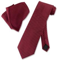 Vesuvio Napoli BURGUNDY Striped NeckTie & Handkerchief Matching Neck Tie Set