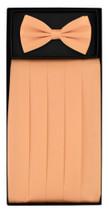 SILK Cumberbund & BowTie Solid PEACH ORANGE Color Men's Cummerbund Bow Tie Set
