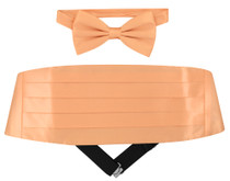 Silk Cumberbund BowTie Peach Orange Color Mens Cummerbund Bow Tie Set