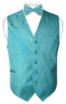Mens Paisley Design Dress Vest Bow Tie Turquoise Aqua Blue BowTie Set