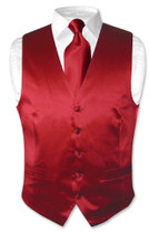 Biagio Men's SILK Dress Vest & NeckTie Solid EGGPLANT PURPLE Neck Tie Set XL