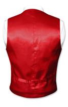 Biagio Men's SILK Dress Vest & NeckTie Solid DARK RED Color Neck Tie Set