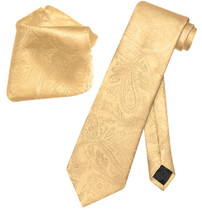 Gold Paisley Tie And Gold Paisley Handkerchief Set For Men