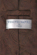 Vesuvio Napoli Chocolate Brown PAISLEY NeckTie & Handkerchief Matching Tie Set