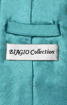 Biagio CLIP-ON NeckTie Solid TURQUOISE AQUA BLUE Color Men's Neck Tie