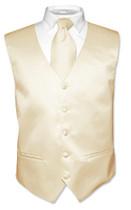 Light Brown Vest And Light Brown NeckTie   Vest And Neck Tie Set