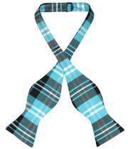 Vesuvio Napoli Self Tie BowTie Black Turquoise White Plaid Bow Tie