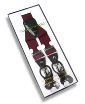 Men's Solid BURGUNDY SUSPENDERS Y Shape Back Elastic Button & Clip Convertible