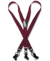 Burgundy Suspenders | Convertible Button / Clip Suspenders For Men