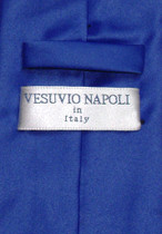 Vesuvio Napoli Solid ROYAL BLUE Color NeckTie & Handkerchief Men's Neck Tie Set